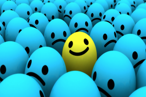 Smiling face in a crowd