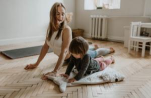 Mom & toddler doing yoga